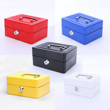 Portable Metal Petty Cash Box Lock Bank Deposit Safe Key Security Tray 5 Colour