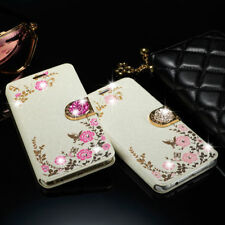 Case Cover For Samsung Galaxy Bling Floral Crystal Leather Wallet