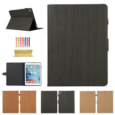 Wood Grain Filio Leather Smart Case Stand Cover for iPad 5th/6th Gen/Air 2/Mini