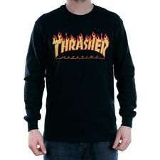 Thrasher Magazine Flame Long Sleeved T-Shirt Black Tee New Official Stockist