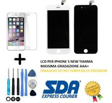 DISPLAY SCHERMO IPHONE 5 NERO BIANCO PER APPLE TOUCH SCREEN LCD VETRO FRAME TOP