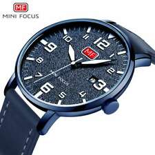 Ultra-Thin Blue Fashion Watches Analog Genuine Leather Sports Gifts For Him Men