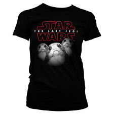 Official Licensed Star Wars - The Last Jedi Porgs Ladies Black Fitted T-Shirt