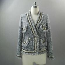 Womens Designer Inspired Tassel Pearl Button Tweed Jacket Coat Blazer