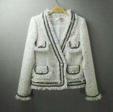 Womens Designer Inspired Pearl Button Tweed Sequined Jacket Coat Blazer