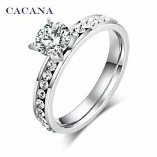 CACANA Elegant Stainless Steel & Crystal Ladies / Women's Ring - Cubic Zirconia