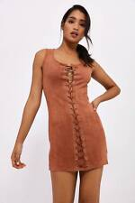 Brown Lace Up Sleeveless Suede Mini Dress Womens Ladies New UK Summer Boho Casua