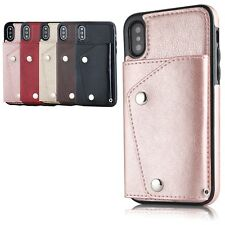 For iPhone 6s 7 Plus X Leather Strap Card Holder Case Stand Wallet Hybrid Cover