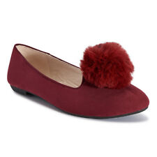 Truffle Womens Flat Shoes Faux Pom Pom Slip On Faux Suede Pumps/Loafers Wine Red
