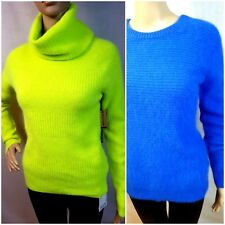 DKNY JEANS WOMENS SOFT FLUFFY ANGORA JUMPER LEMON YELLOW ROYAL BLUE XS S M