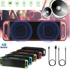 Portable Wireless Bluetooth Dual Stereo Speaker FM LED Alarm USB MP3 Player