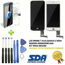 DISPLAY SCHERMO IPHONE 7 plus NERO BIANCO PER APPLE TOUCH SCREEN LCD VETRO FRAME