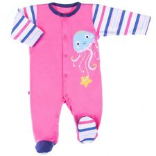 BNWT Baby Infant Girls PINK/NAVY Playsuit Sleepsuit 100% Cotton 6-9 Months