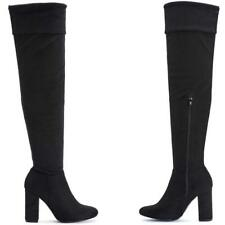 NEW WOMENS LADIES BLACK THIGH OVER THE KNEE HIGH HEEL WINTER BOOTS SHOES SIZE