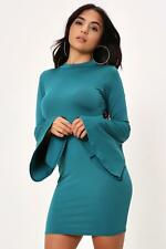 Teal Turtle Neck Dress With Extreme Flare Sleeves Womens Ladies New UK Summer Bo