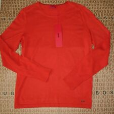 NEW HUGO BOSS MENS ORANGE COTTON SILK CASHMERE BLEND CREW NECK JUMPER CARDIGAN