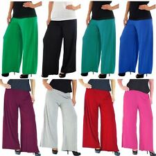 New Ladies Full Length Plain Palazzo Wide Leg Flared Trousers Pants 6-26