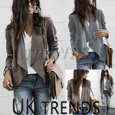 UK Womens Ladies Waterfall Cardigan Blazer Coat Open Front Suede Biker Jacket