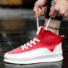 Men's Leather Sports Shoes Fashion High Top Platform Sneakers Running Trainers