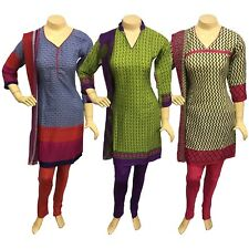 Indian Pakistani Printed Crepe Churidar Suit, Stitched Salwar Kameez Shalwar