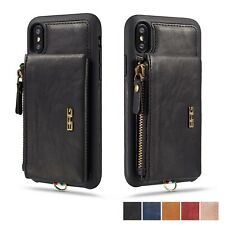Luxury Handy Leather Zipper Wallet Stand Case Cover For Apple iPhone X XR XS Max