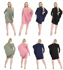 WOMENS CASUAL BATWING SLEEVE LOOSE ASYMMETRIC LONG LADIES DRESS OVERSIZED