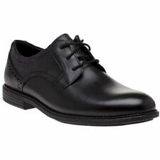 New Mens Rockport Black Madson Plain Toe Leather Shoes Lace Up