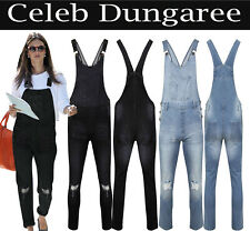 New Womens Ladies Denim Dungarees Slim Fit Ripped Black Wash Jeans Jumpsuit 8-18