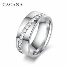 CACANA Stainless Steel Elegant Ladies / Women's Ring - Cubic Zirconia, Casual