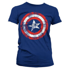 Official Licensed Marvel - Captain America Distressed Shield Ladies T-shirt
