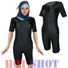 Ladies Womens Premium Muslim Islamic Black Stretchy Leotard Swimwear Bodysuit •