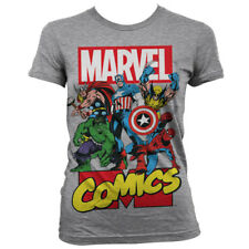 Official Licensed Marvel Comics Heroes Ladies Fitted T-Shirt S-XXL, Heather Grey