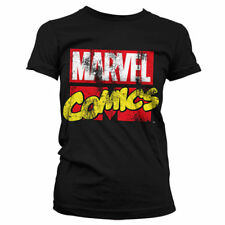 Official Licensed Marvel Comics Retro Logo Ladies Fitted T-Shirt S-XXL (Black)