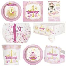 Baby Girl Cute 1st Birthday Pink & Gold Party Tableware Supplies Decorations