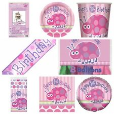 Baby Girls 1st Birthday Cute Pink LadyBug Party Supplies Tableware Decorations