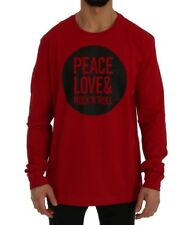 Moschino - Herren Sweater - Rundhals- Red Motive Cotton Long Sleeve T-Shirt -XXL