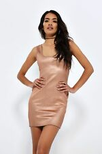 Rose Gold Foil Bodycon Dress Womens Ladies New UK Summer Boho Casual Size 8-14