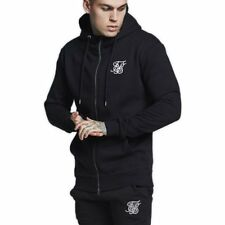 SikSilk Muscle Fit Zip Through  Sudadera capucha Negro Hombre