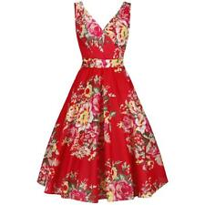 Vintage 50s Cotton Red Floral Rockabilly Swing Dress