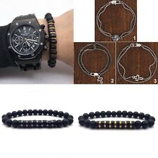 Men's Trendy Natural Beads Rose Gold Charms And Stainless Steel Bracelets Gift U