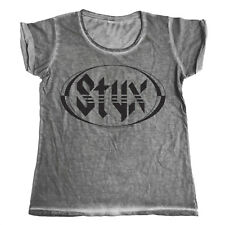 Official Licensed Styx Logo Urban Girly Ladies T-Shirt, Music Band S-XXL (Grey)