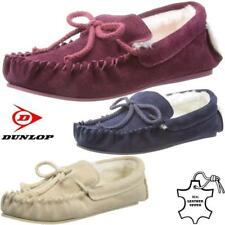 Ladies Real Leather Moccasins Slippers Dunlop Sheepskin Fur Warm Winter Shoes