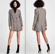 ZARA WOMAN SMART PATTERNED MULTICOLOURED BOYFRIEND BLAZER COAT JACKET L and XL
