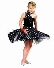 Kids 50s 60s Rock N Roll Skirt And Scarf Girls Fancy Dress Costume Party Outfit