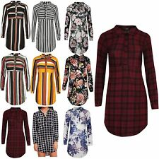 Ladies Horizontal Vertical Stripes Womens Collared Buttons Long Sleeves Shirt