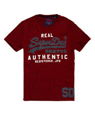 Superdry Mens Vintage Authentic Duo T Shirt  Red Hood White Marl Ship Worldwide