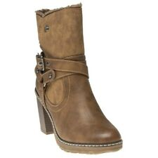 New Womens XTI Tan 64772 Pu Boots Ankle Buckle Zip