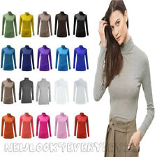 LADIES LONG SLEEVES POLO NECK WOMENS STRETCH TOP TURTLE NECK JUMPER SIZES 8-26