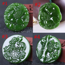 China hand-carved Green Lucky jade pendant Necklace Amulet