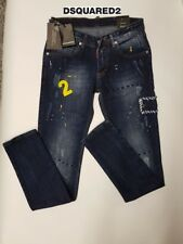 DSQ2 - DSQUARED DISTRESSED PATCHWORK RIPPED JEANS - DARK BLUE NEW UK/EU SIZES